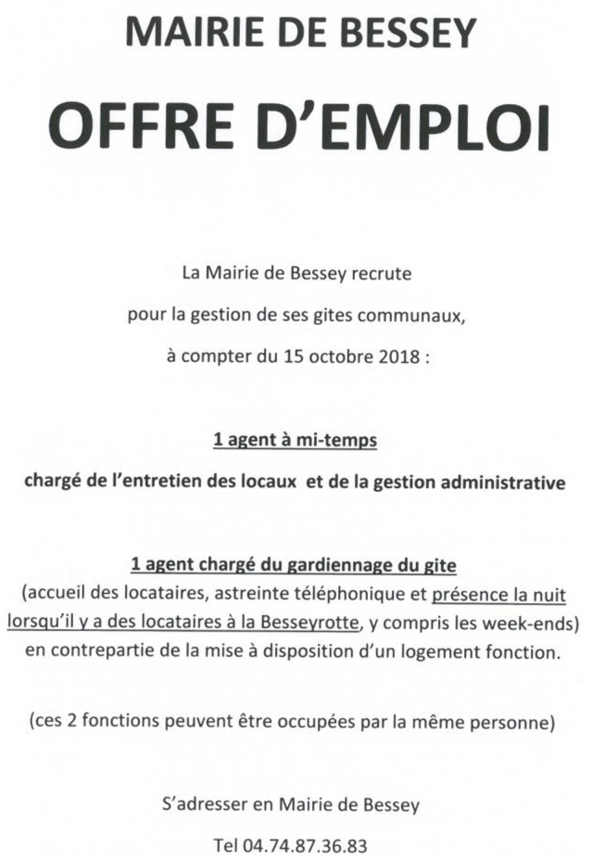 Offre Emploi Bessey Agent S Gites Communaux Mairie De Lupe